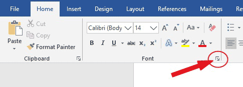 Font launcher in Word