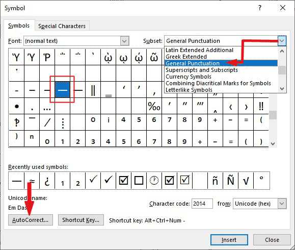 Click the Emdash symbol in the dialog and click on the AutoCorrect