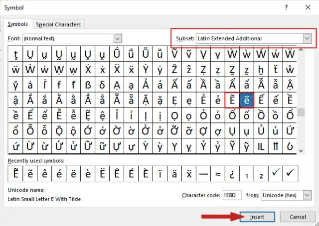 insert e with tilde in Excel