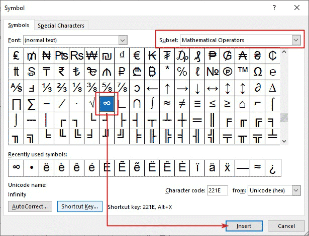 insert infinity symbol in Word/Excel/PowerPoint