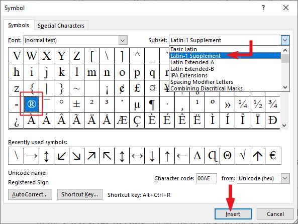 Insert Registered sign in Word or Excel
