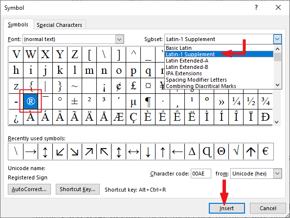 Insert Registered sign in Word or Excel