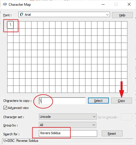 copying backslash sign on the Character map