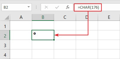using degree alt code in Excel's CHAR function