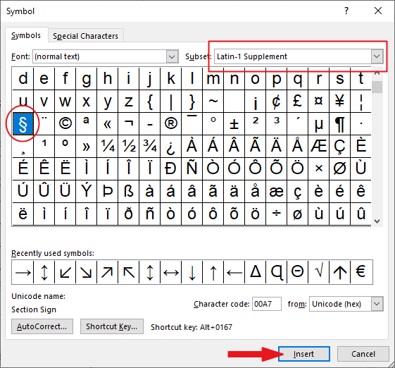 How to type Section symbol in Word/Excel (+ shortcut ...