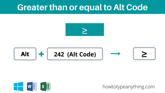 Greater than or equal to alt code