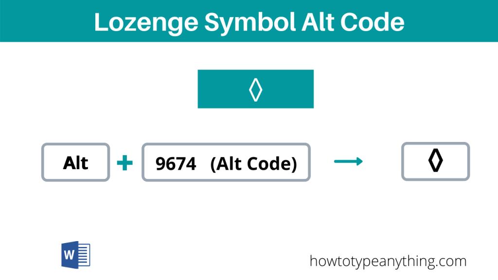 lozenge symbol alt code shortcut