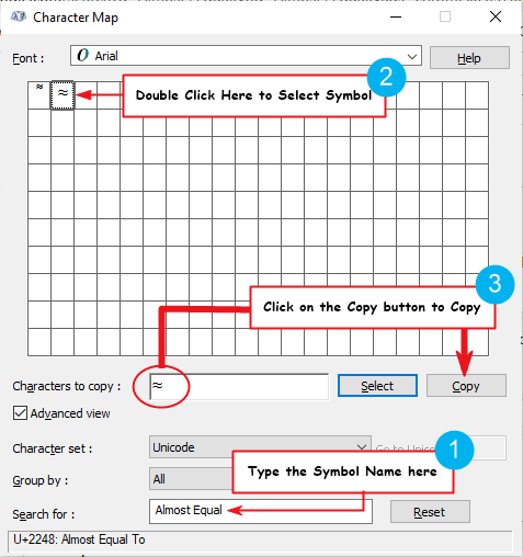 copy approximate equal to symbol on Windows