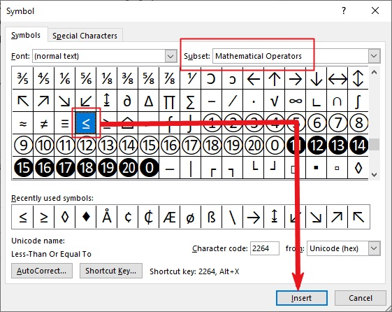 insert Type Less than or equal to symbol in Word or Excel or PowerPoint