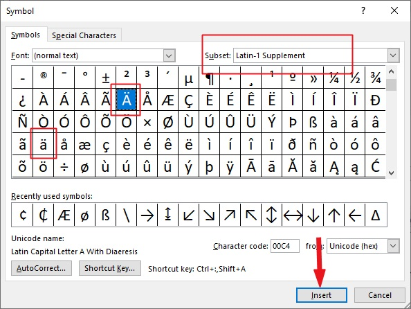 insert a with two dots (a umlaut) in word or Excel