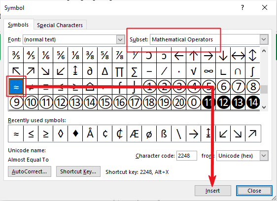 insert approximately equal symbol in Word or Excel or PowerPoint
