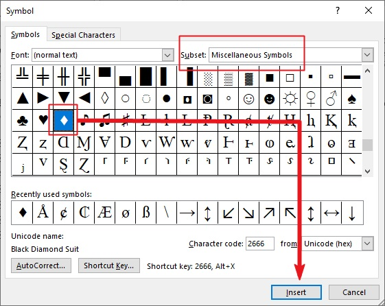 insert diamond symbol in MS Office