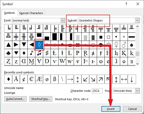 insert lozenge symbol text in MS Office