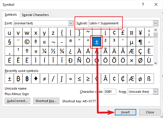 insert plus or minus symbol in Word or Excel or PowerPoint
