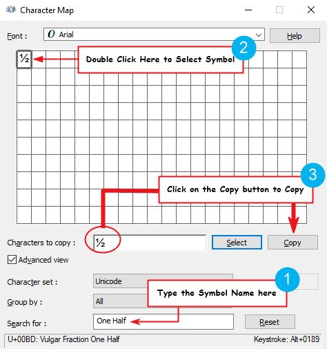 copy and paste half symbol