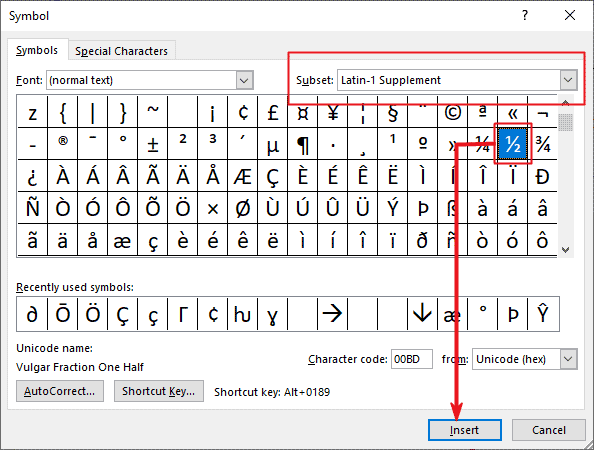 Insert half symbol in Word or Excel