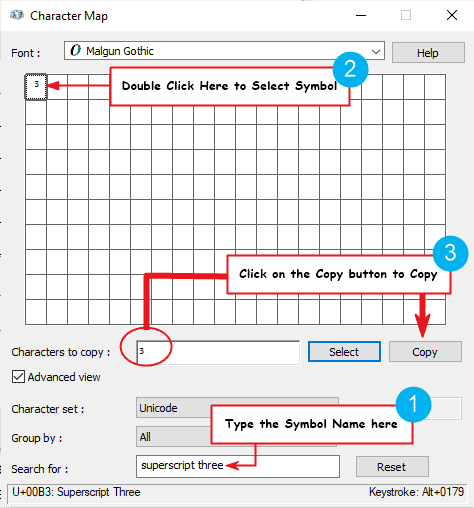 Copy and paste the 3 cubed symbol on Windows