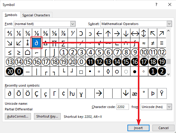 how to insert partial differential symbol in Word or Excel