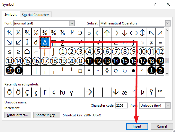 Insert triangle symbol in Word or Excel
