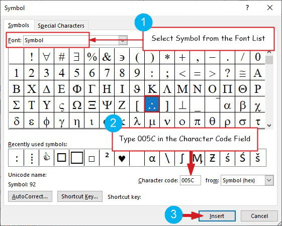 Inserting therefore symbol in Word or Excel