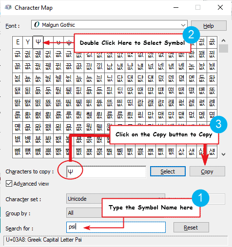 how to copy and paste the psi symbol