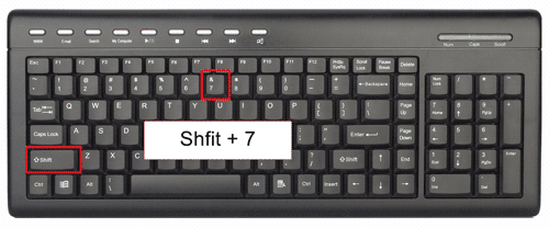 Ampersand or And Symbol key on the Keyboard with shortcut