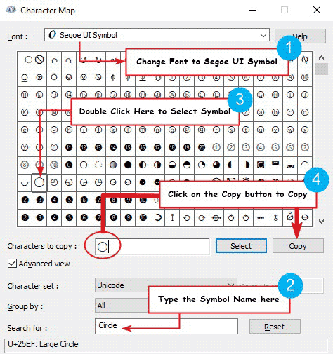 copy and paste the Circle Symbol on Windows