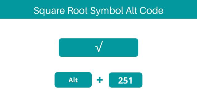 Square root alt code for Windows