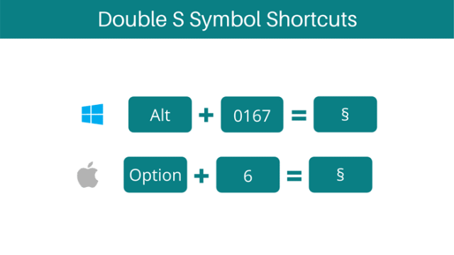 double s symbol keyboard shortcuts