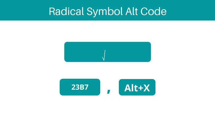 Radical Symbol alt code