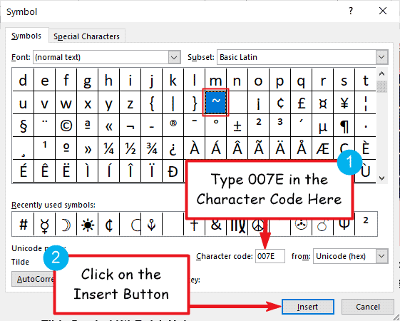 How to insert the Tilde Symbol in Word or Excel