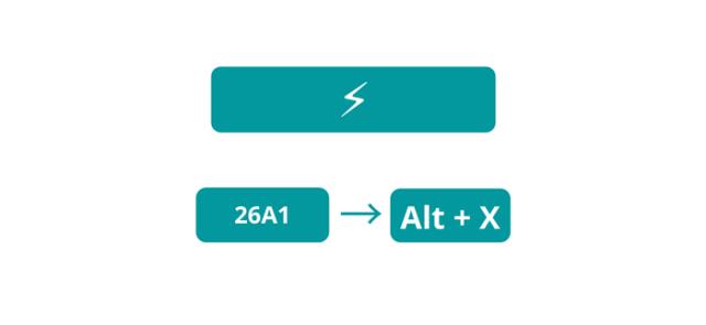Flash sign or high voltage symbol Alt Code