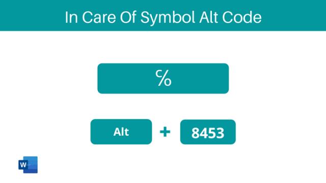 In Care Of Symbol alt code