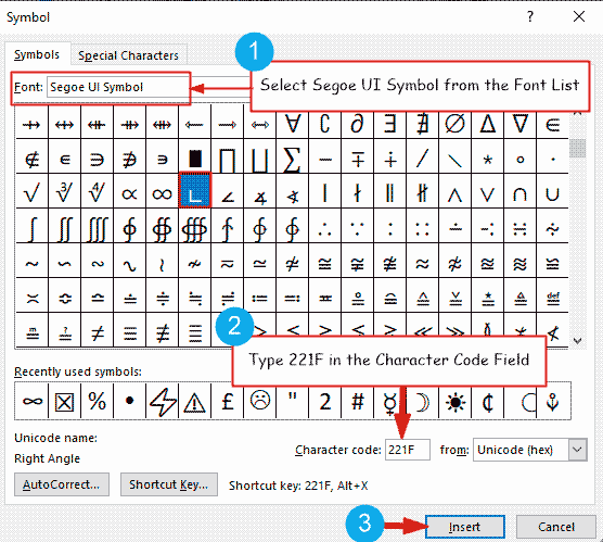 Inserting right angle symbol in Microsoft Word