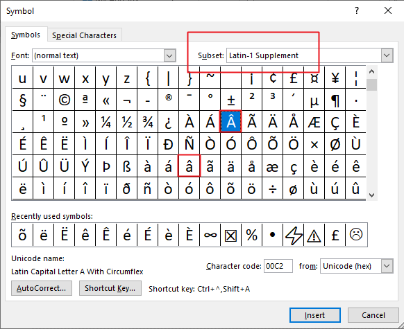 how to insert letter a with crown in Word