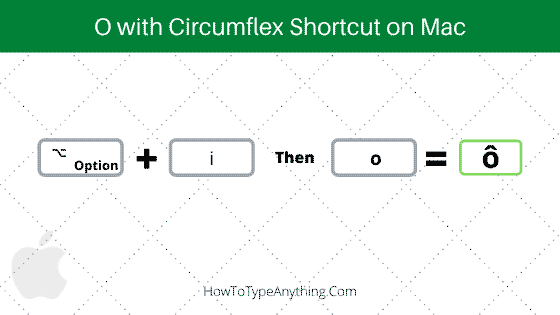 how to type o with circumflex on mac using shortcut