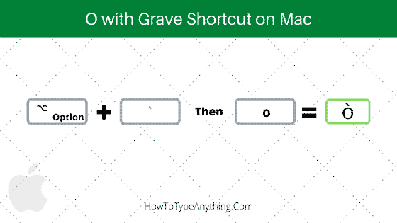 o with grave shortcut for Mac