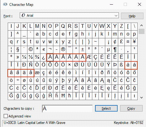 how to copy and paste a with accents on a character map