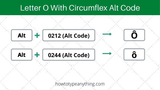 o with circumflex Alt Code for Windows keyboard