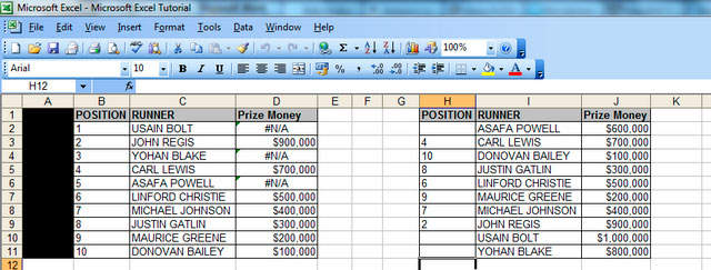 "An image showing what happens when there are missing 'lookup up' values in your table array – ""#N/As"""