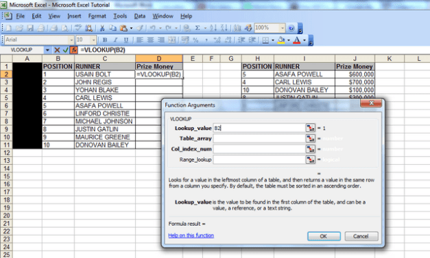 "A screenshot showing the ""function arguments"" window and the lookup value populated with cell B2 (our first vlookup value)."