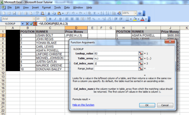 "A screenshot showing the ""function arguments"" window, the lookup value with cell B2, the data for the table array – columns H to J and the column index number – 3."