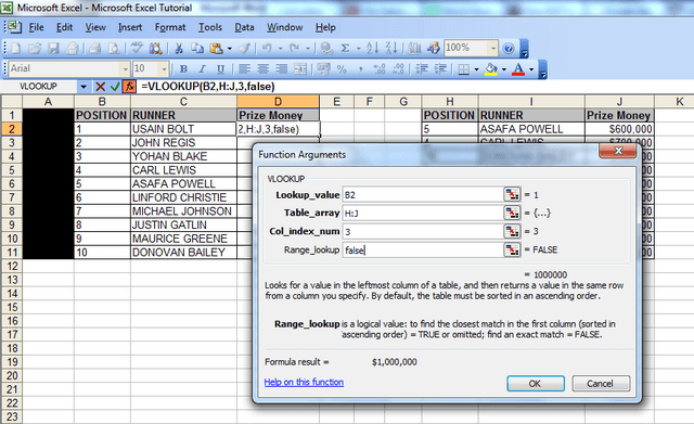 "A screenshot showing the ""function arguments"" window, the lookup value with cell B2, the data for the table array – columns H to J, the column index number – 3 and the range lookup field populated with the word ""false"", which it should always be."