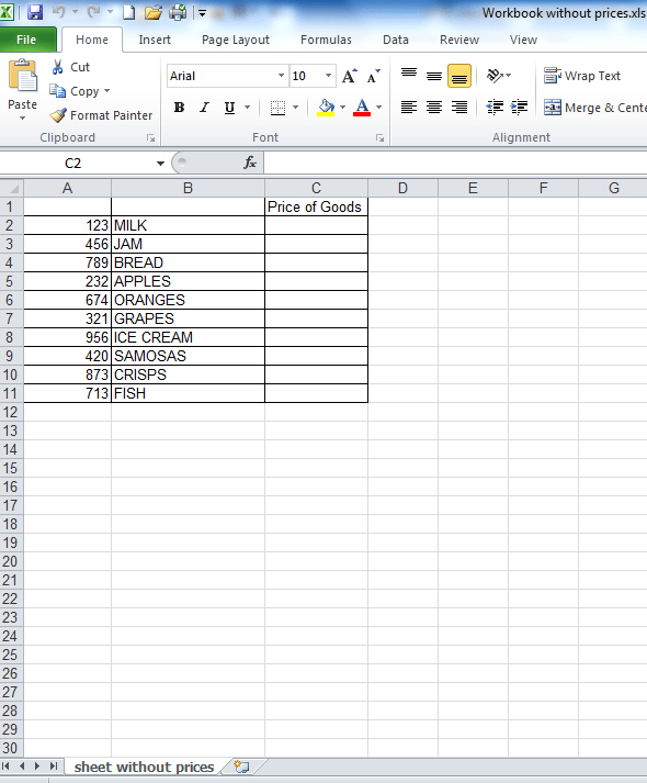 An image showing a list of foods in column B with unique IDs in column A, but not cost information in col. C