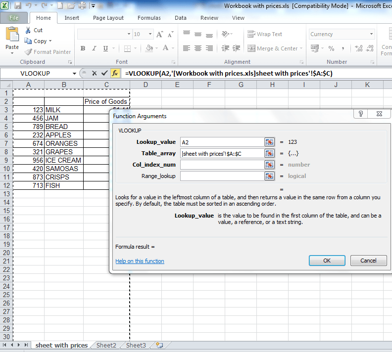 A step by step tutorial on a vlookup between two workbooks