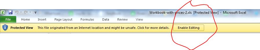 screenshot showing'enable editing' button