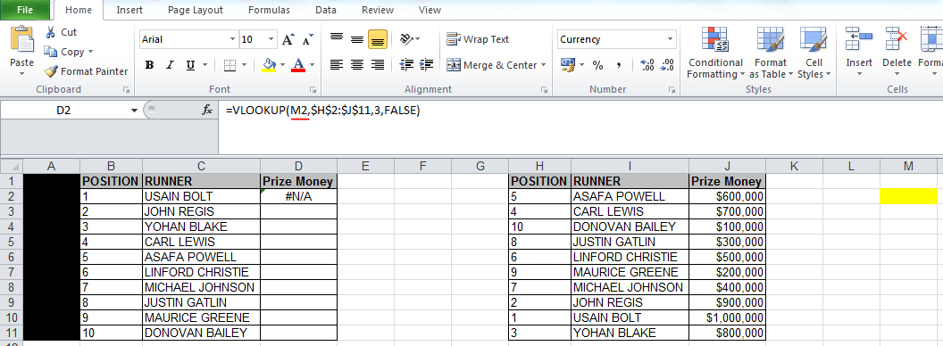 vlookup #N/A error because wrong 'lookup value' is used in the formula