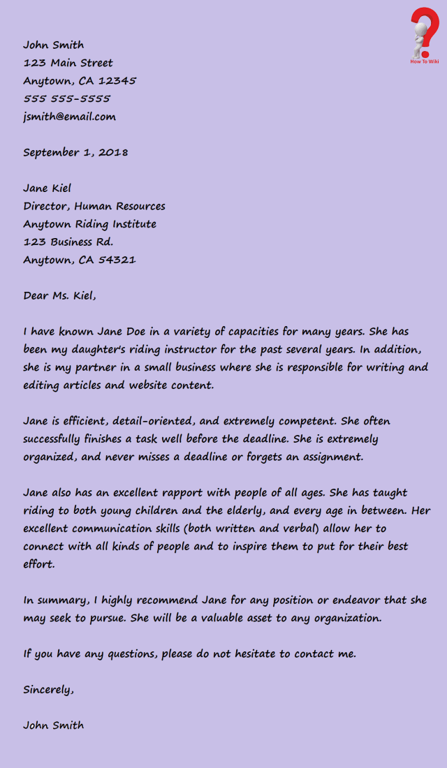 How To Write Character Reference Letter For Court  HowToWiki