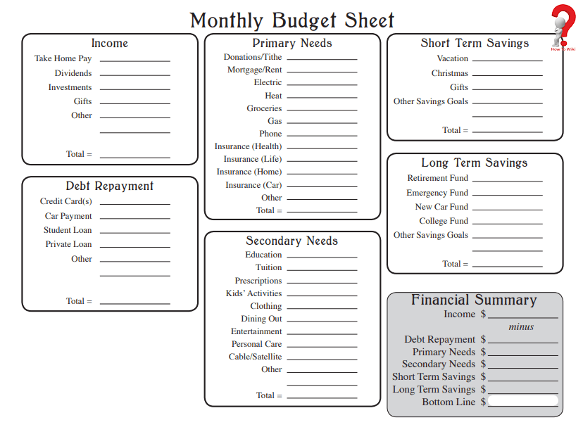 How To Make A Free Printable Monthly Budget Template In