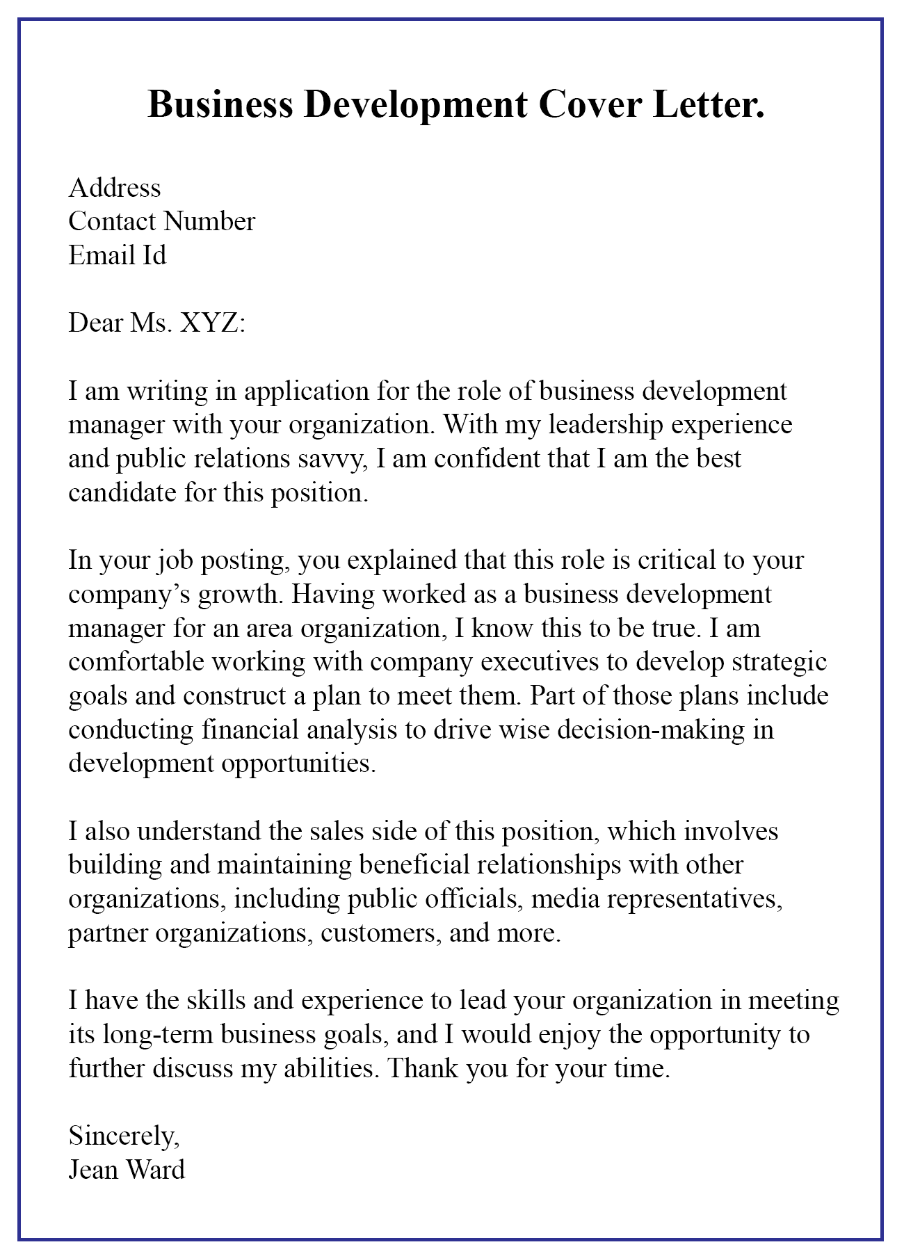 Public Relations Executive Cover Letter How To Write A Business Development Cover Letter With Samples